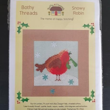 Borduurkaart: Snowy Robin