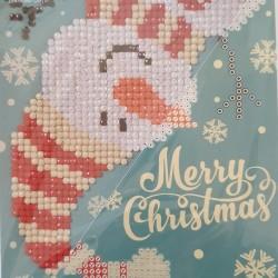 Wenskaart: Merry  Christmas Sneeuwpop