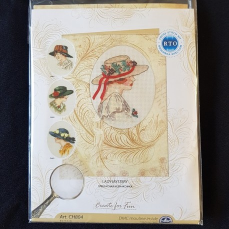 Borduurkaart: Lady Mystery met bloemenhoed.