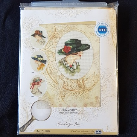Borduurkaart: Lady Mystery met hoed en roos.