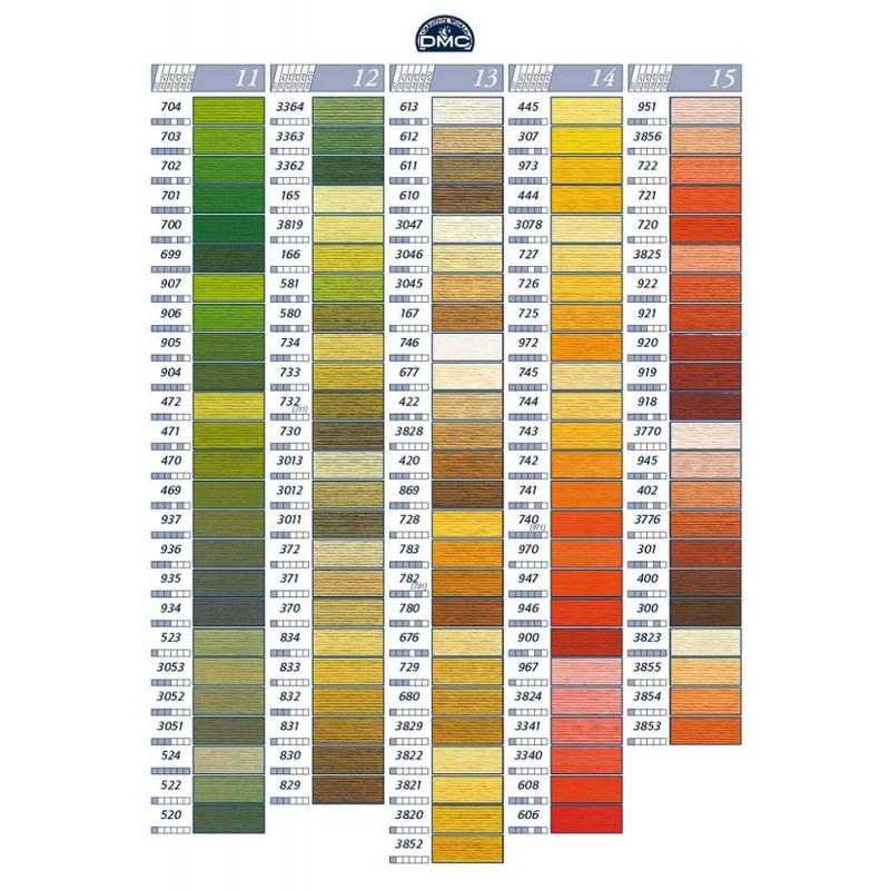 d8fd54721b5 DMC Mouline garen in de kleuren: groen, bruine, geel en oranje.
